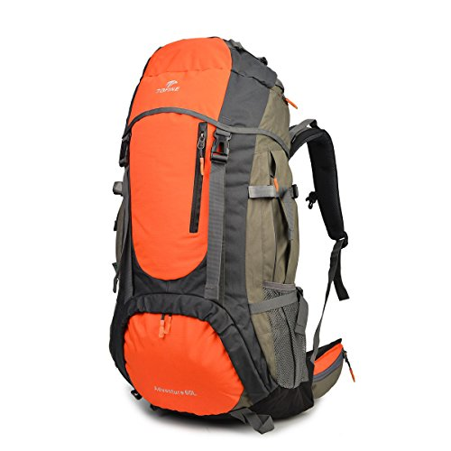Tofine External Frame Hiking Backpack with Rainfly 60L Waterproof Nylon Raincover (Orange)