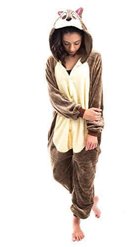 [Emma's Mode Adult Animal Pajama Cosplay Halloween Costume All Sizes,SQUIRREL,Medium,Medium,SQUIRREL] (Squirrel Halloween Costume)