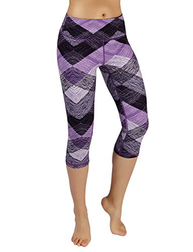 ODODOS Power Flex Women's Tummy Control Workout Running Printed Capris Yoga Capris Pants With Hidden Pocket,SketchedChevron, Large