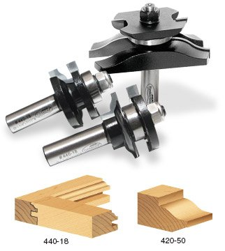 Timberline TRS-250 Ogee Raised Panel Door Making Router bit Set with Back Cutter, 3-Piece by Timberline