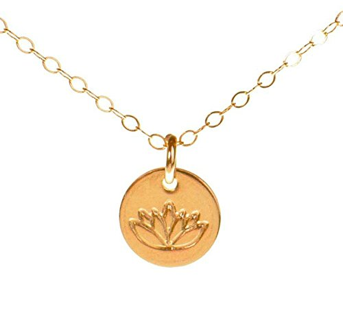 Efy Tal Jewelry Lotus Necklace, Tiny Gold Filled Yoga Pendant on 14k Gold Filled Chain, Dainty Zen Flower Charm