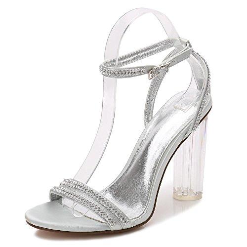 5 Diamante Donne F2615 Argento Scarpe Sposa L Cristallo Alti Delle Talloni Sfera Yc Seta Con Tacco Da Sintetico gxpHg7w0
