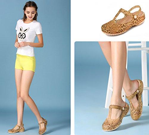 de doré pantoufles d'été de Plage femmes plage été léopard filles douces Respeedime Sandales chaussures Oqqv0