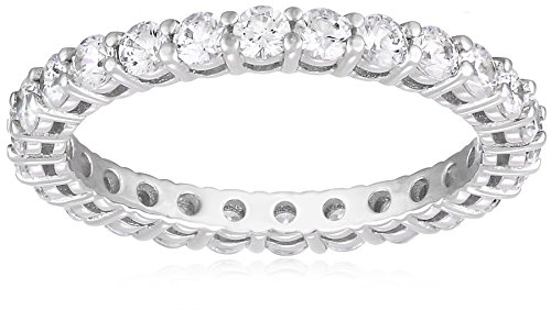 - Platinum-Plated Sterling Silver All-Around Band Ring set with Round Swarovski Zirconia (1 cttw), Size 8