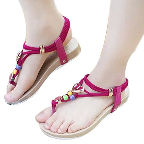 ZAMME Women's Girls Summer Beach Open Toe Lace Up Beaded Flip Flops Sandal Thongs Rose