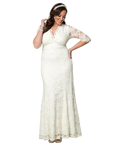 Kiyonna Women's Plus Size Amour Lace Wedding Gown 2X Ivory by Kiyonna Clothing