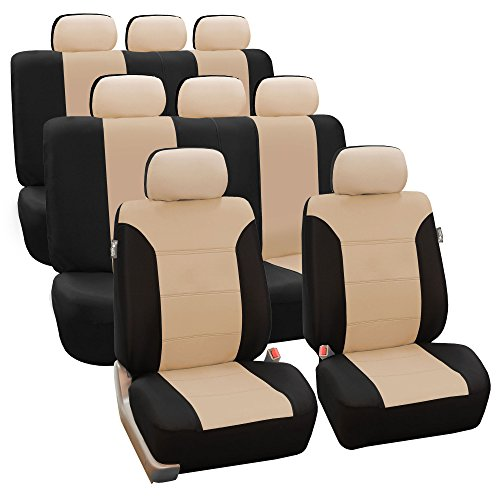 (FH GROUP FH-FB065128 Classic Khaki Three-Row Set Car Seat Covers, Airbag compatible and Split Bench, Beige / Black- Fit Most Car, Truck, Suv, or Van)
