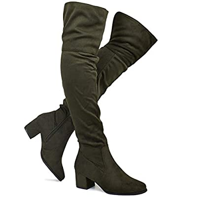 Premier Standard - Women's Over The Knee Stretch Boot - Trendy Low Block Heel Shoe - Sexy Over The Knee Pullon Boot
