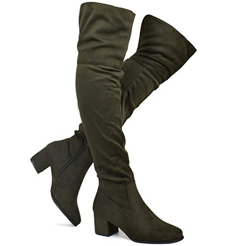 Premier Standard - Women's Over The Knee Stretch Boot - Trendy Low Block Heel Shoe - Sexy Over The Knee Pullon Boot, TPS Booties-10Nednil Olive Size 7