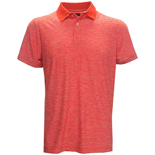 (PGA TOUR Men's Space Dye Polo Golf Shirt, Small Red)
