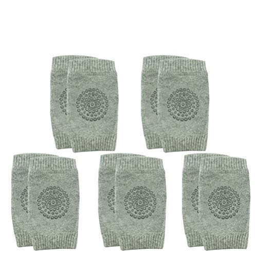 Pack of 5 Baby Knee Pads | 5 Pairs of Single Color Unisex Non-Slip Crawling Elbow Pad