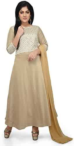 7ddbf117e0b9f0 Utsav Fashion Embroidered Cotton Silk Abaya Style Suit in Beige Color