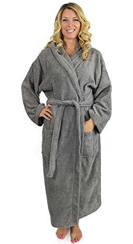 - Indulge Premium Linen Terry Hooded Bathrobe for Men and Women, 100% Cotton, Made in Turkey (One Size, Gray)