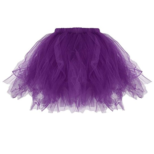 Womens Petticoat Skirt Ballet Bubble Tutu Skirt Costume Adult Party Dance Tulle Skirt Mini Skirts (One Size, Purple) (Bubbles Strap Top)