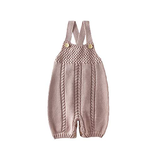 Skatheal Infant Baby Knit Romper Overalls Cute Onesies Unisex,Baby One-Pieces Jumpsuit Outfit Clothes (0-24M) (66) Light Brown