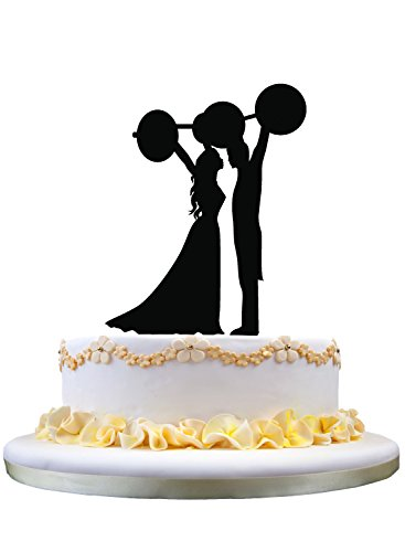 (restore2a Unique Wedding Cake Topper- Bride and Groom Lifting The Barbell)