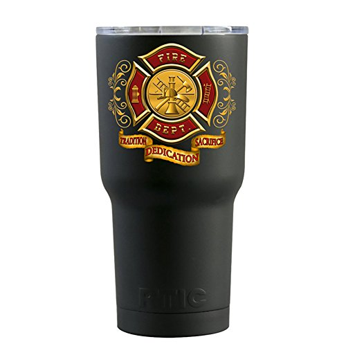 RTIC Red Gold Fire Department Badge on Black Matte 20 oz Sta