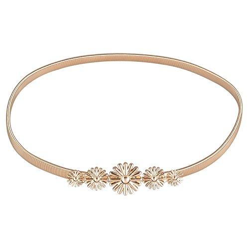 E-Clover Fashion Belts for Women Gold Skinny Waist Belt for Dress Gold Leaf
