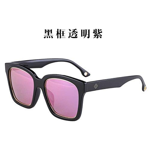 2018 Miss fang Kuang Large Frame Sunglasses Glasses Big Round face (Black Frame Transparent Purple