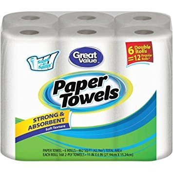 Paper Double Roll 2 Ply (Great Value Double Rolls Sized-4-Spills White 2-Ply Paper Towels, 168 sheets, (Pack of 6))