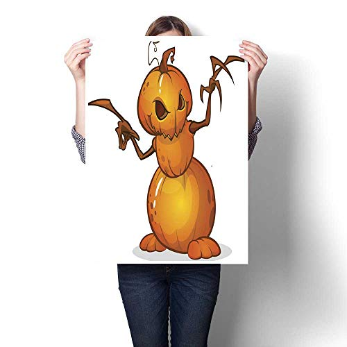 Wall Decoration Halloween Cartoon Scarecrow with Pumpkin Head Vector Cartoon Decorative Fine Art Canvas Print Poster K 32