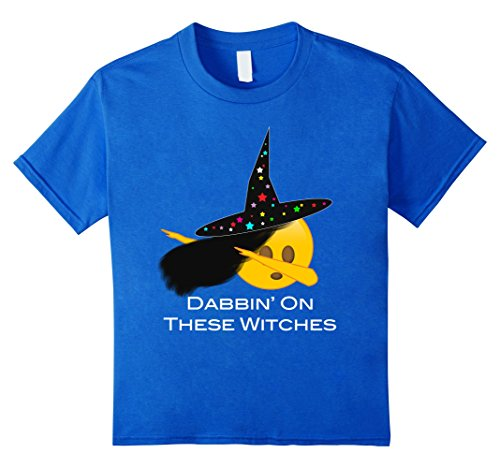 Kids Funny Dabbing Dance Emoji Witch T-Shirt for Halloween 8 Royal Blue (Funny Pop Culture Halloween Costumes 2017)