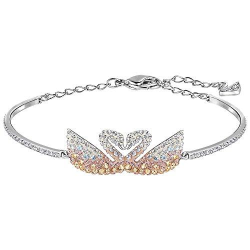 Swarovski Crystal Multi-Colored Iconic Swan Rhodium Plated Bangle Bracelet