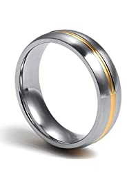 Stainless Steel Plain Wedding Band Ring Jewelry for Men Women,Middle 18K Gold Plated 6mm Width