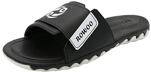 ROWOO Herren Verstellbare Athletische Slip On Beach Slide Sandalen Schwarz