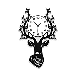 ZYY Living Room Personality Creative Decoration Mute Deer Head Wall Clock