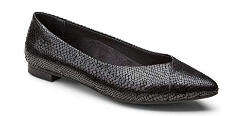 (Vionic Women's Caballo Ballet Flat - Ladies Dress Shoes with Concealed Orthotic Support - Leather- Black Snake 9M)