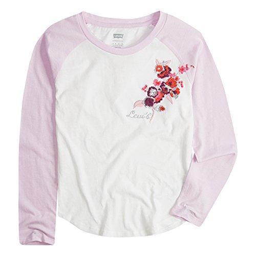 Levi's Girls' Little Long Sleeve Shirt, Cloud Dancer/Pink, 6 (Dancer Long Sleeve Shirt)