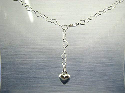 Heart Shape Link Body Chain with Dangling Heart Charm, 925 Sterling Silver, Adjustable Length