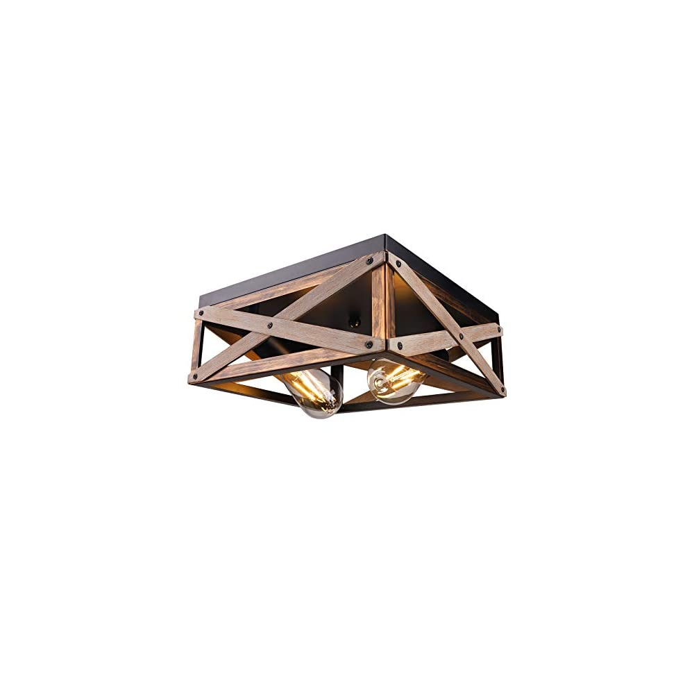 Rustic Flush Mount Ceiling Light Fixture, Farmhouse Light Fixtures Ceiling Two Light Metal and Wood Square Industrial…