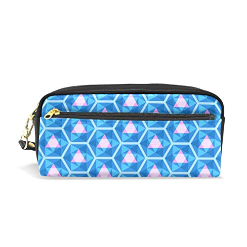 (Pencil Bag Pouch Blue Kaleidoscope Pattern Geometric Pen Case Holder with Compartments for School Student Women Cosmetic Bags Leather)
