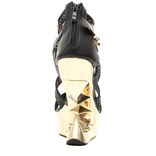 Hades Mujer Taunt Golden Wedge Pump Black / Gold
