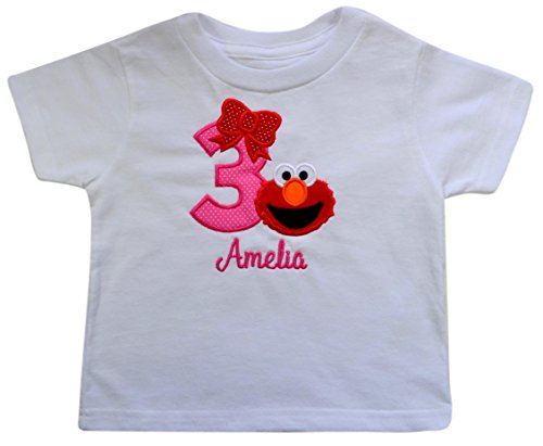 (Personalized Elmo 3rd Birthday Toddler Girls Embroidered T Shirt with Custom Name)