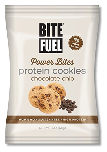 BITE FUEL Power Bites High Protein Cookies, Non GMO, Gluten Free Chocolate Chip Cookies, 3 Oz (Pack of 8)