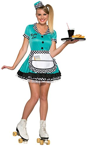 Diner Waitress Costume (Forum Novelties Women's Betty Lou 50's Diner Waitress Costume, Blue,)