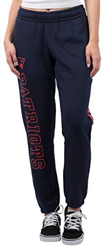 NFL Women's New England Patriots Jogger Pants Relax Fit Fleece Sweatpants, Large, Navy