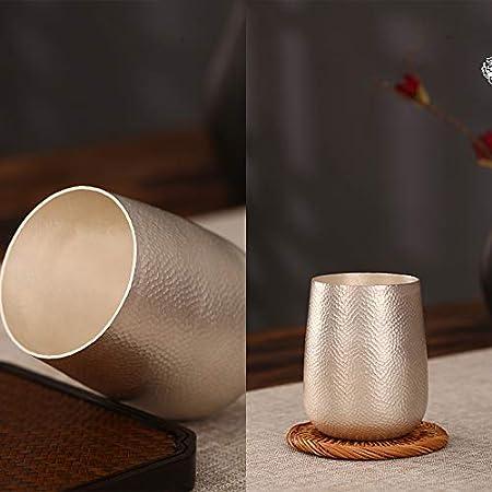 XXSC-ZC Copa de Vino de Plata de Ley, Whisky Ron Copa de Vino, Taza de té Taza de Agua Taza de café, Taza de café de Salud Hecha a Mano,250ML