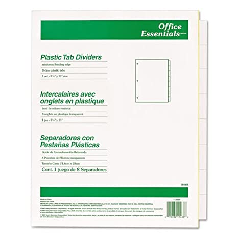 """Clear /""""Avery Office Essentials Insertable Tab Index Divider Set Letter 8//Set/"""""""