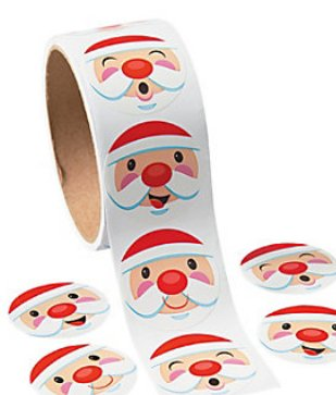 CHRISTMAS HOLIDAY SANTA CLAUS STICKERS - 1 ROLL (100 Stickers) Christmas Stickers