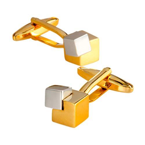 Nosterappou Gemelos de hombre, gemelos de oro y plata con dos tonos de metal gemelos, estilo personalizado, hebilla formal de...