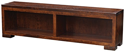 Wooden Rustic Bed Storage Bench, Cubby, 4 Feet, Resawn Sap Cherry Wood, Asbury Stain, 48