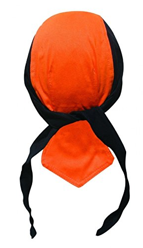 Black Orange Deluxe Head Wrap Durag Skull Cap Biker Doo Rag Sweatband