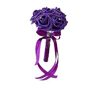 Afco Wedding Bridal Bouquet,Bride Bridesmaid Handmade Wedding Party Rhinestone Inlaid Artificial Flower 75