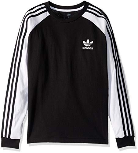 adidas Originals Boys' Big 3-Stripes Long Sleeve Tee, Black/White, X-Large