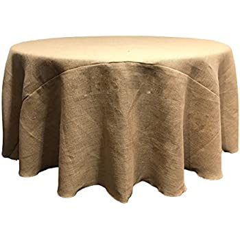 Beautiful LA Linen 108 Inch Round Hessian Jute Burlap Tablecloth / Pack Of 1 / Natural