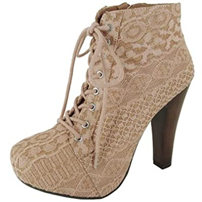 Amazon.com: Qupid Puffin-39 Lace Chunky Heel Ankle Boot, Ivory: Shoes